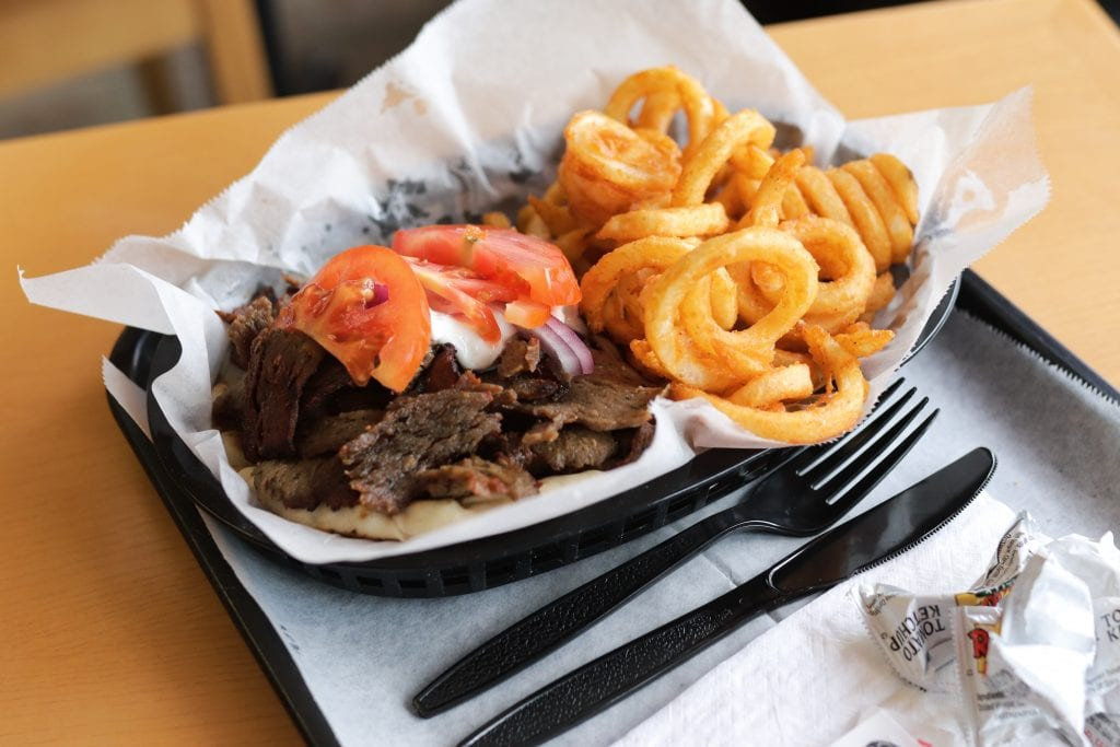 gyro sandwich with curly fries